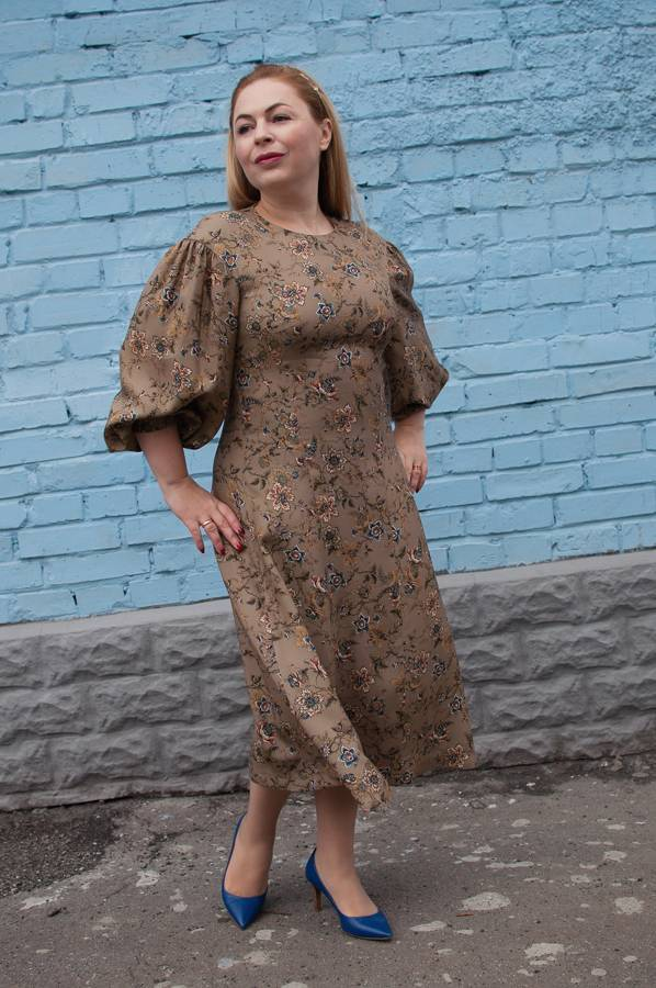 Модные осенние платья, пышные рукава