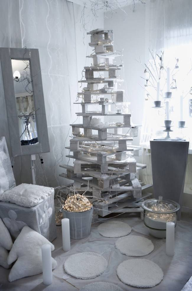 как украсить елку как нарядить елку своими руками елка из палет