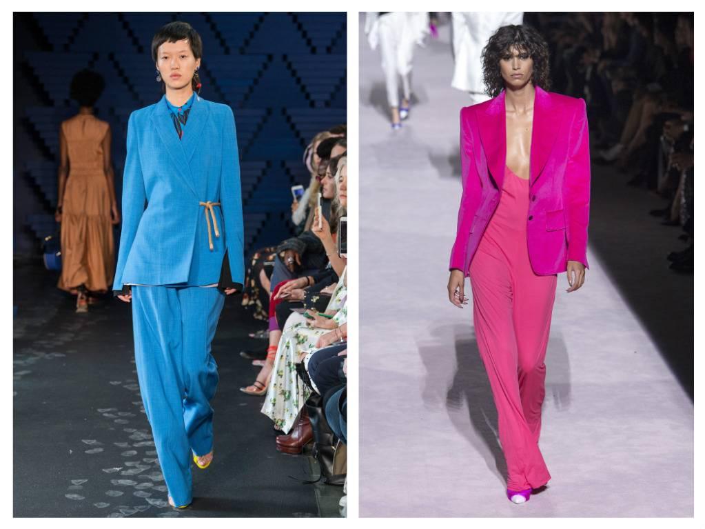 модные тренды весна 2018 брючные костюмы яркие цвета