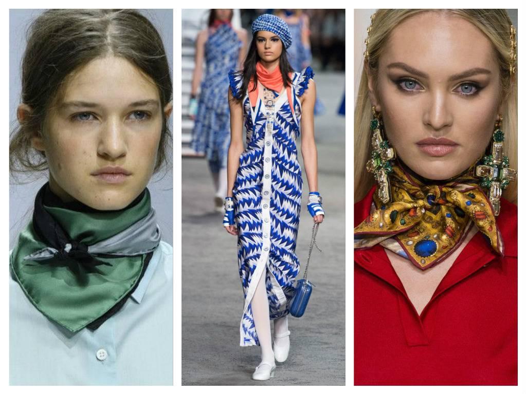 модные аксессуары весна лето 2018 шейные платки шарфики шелковые платки какие в моде как носить