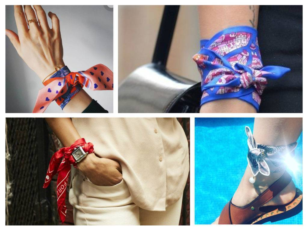 платки, хустки, как носить на руке модный тренд