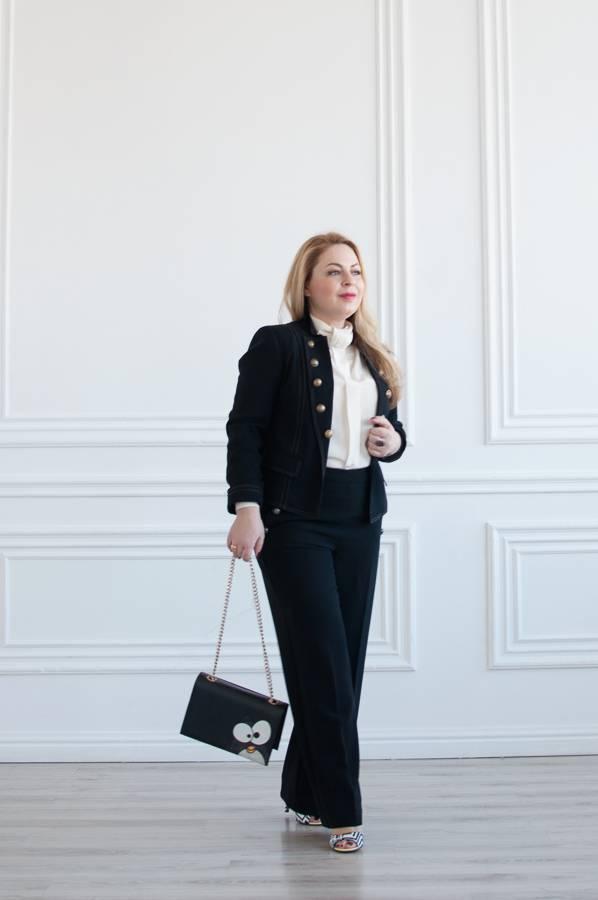 с чем носить черный пиджак женский черный жакет черные брюки женская белая  блузка фото кому идет черный цвет