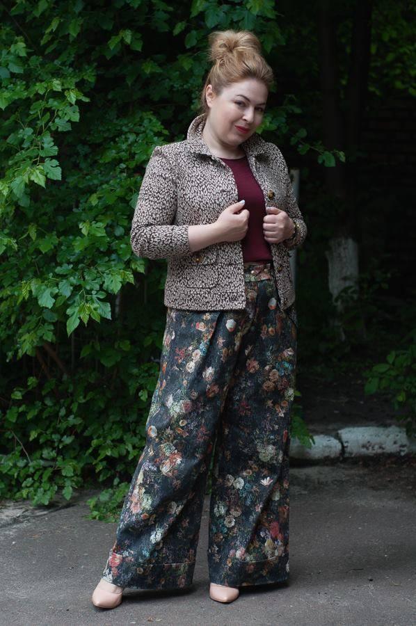 Леопардоый принт, смешение принтов, брюки-трубы, стиль 70-х, цветочный принт
