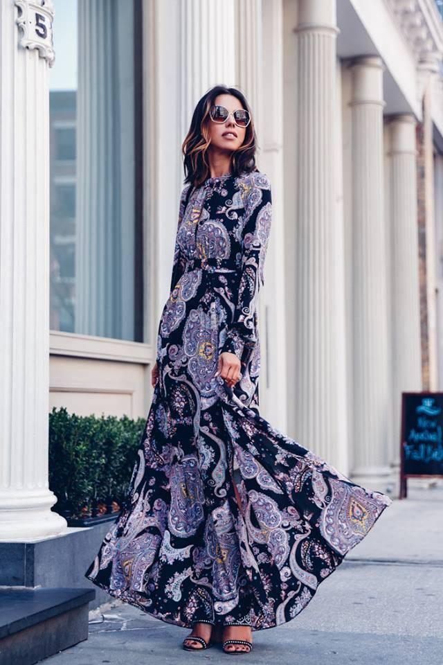 платье макси с пейсли принтом